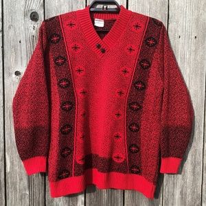 Vintage Atomic Snowflake Sweater V-Neck Unisex